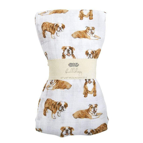 Mud Pie Bulldog Muslin Swaddle Blanket
