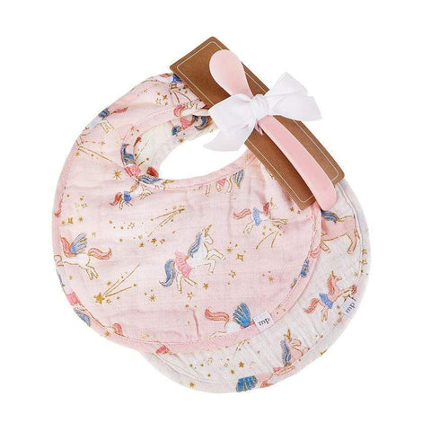 Mud Pie Fairy Unicorn Muslin Bib and Spoon Set