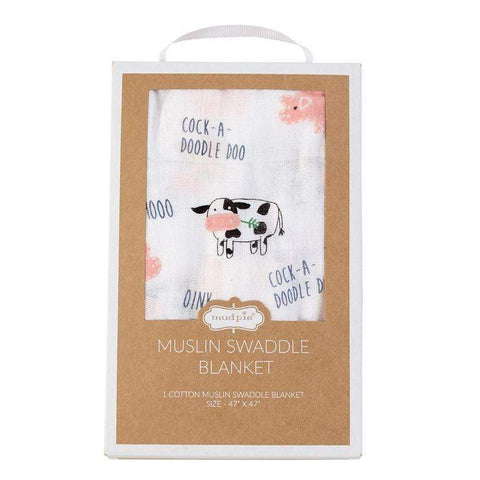 Mud Pie Farmhouse Muslin Swaddle Blanket