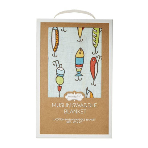 Mud Pie Fishing Lure Muslin Swaddle Blanket