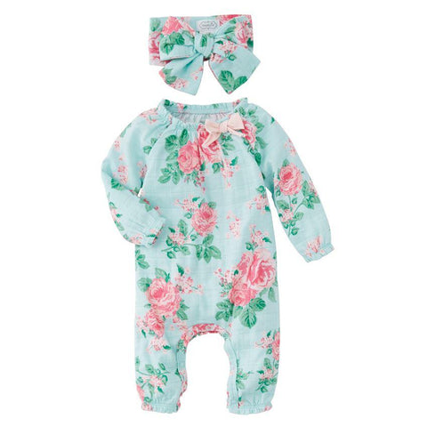 Mud Pie Garden Rose Muslin Sleeper & Headband set