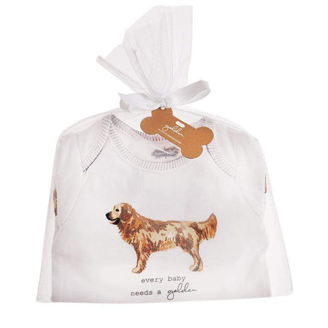 Mud Pie Golden Retreiver Crawler Onesie and Bib Set