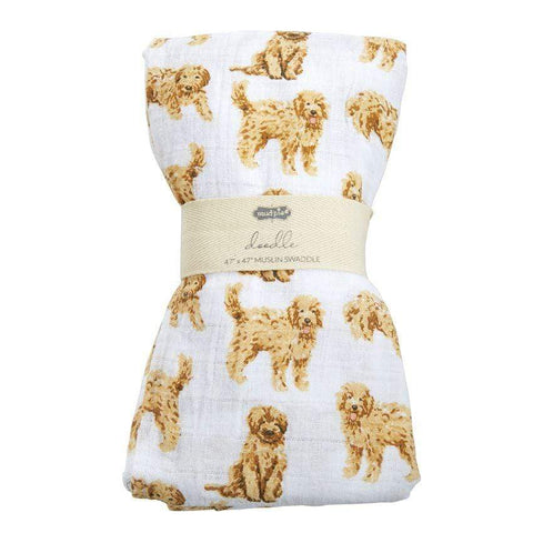 Mud Pie Goldendoodle Muslin Swaddle Blanket