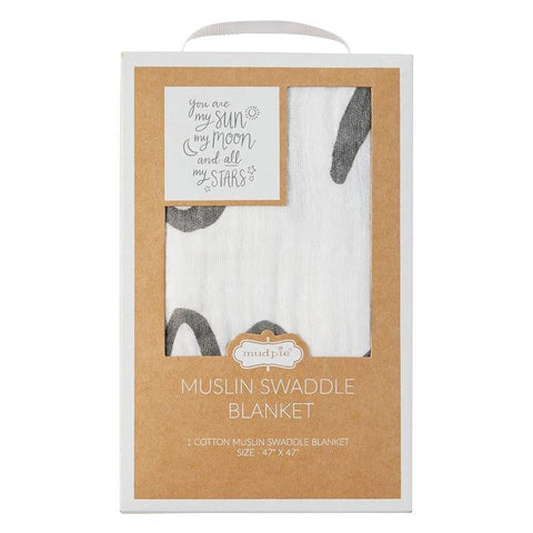 Mud Pie Moon and Star Muslin Swaddle Blanket