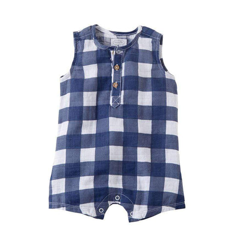 Mud Pie Muslin Navy Gingham Romper
