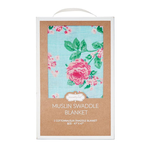 Mud Pie Rose Muslin Swaddle Blanket