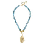 Susan Shaw Gold Oyster Shell Necklace - Aqua Fire Agate