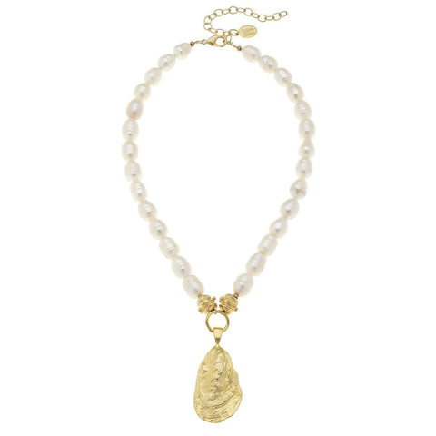 Susan Shaw Pearl Oyster Necklace