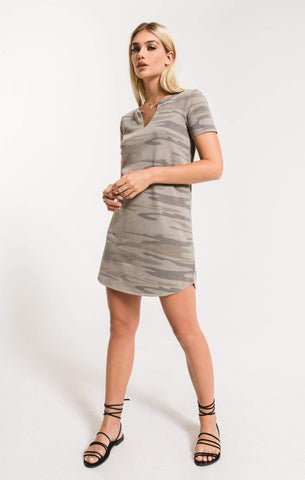Z Supply Camo Split Neck Dress - Light Sage