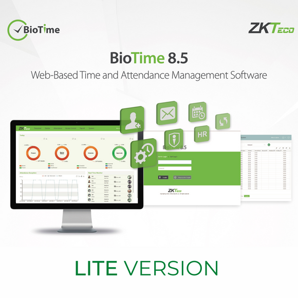 ZKTeco BioTime Web-Based Time & Attendance Management Software, Lite Version 8.5