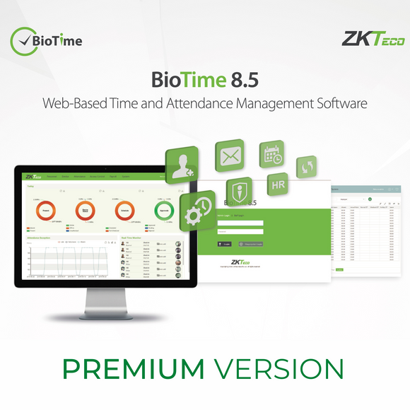 ZKTeco BioTime Web-Based Time & Attendance Management Software, Premium Version 8.5