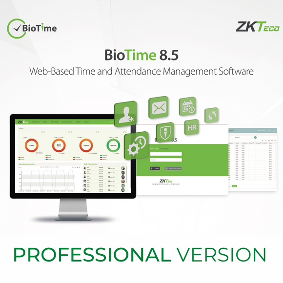 ZKTeco BioTime Web-Based Time & Attendance Management Software, Professional Version 8.5