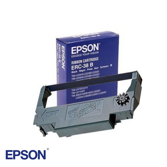 Black Ribbon Cartridge for Epson U220B, Part # ERC38B