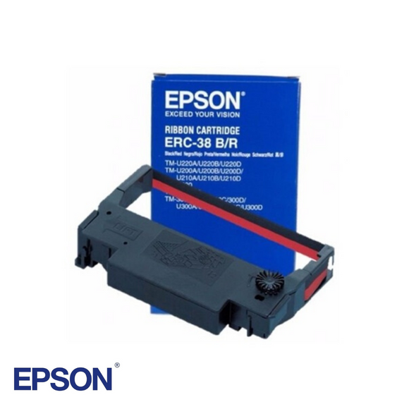 Black & Red Ribbon Cartridge for Epson U220B, Part # ERC38BR