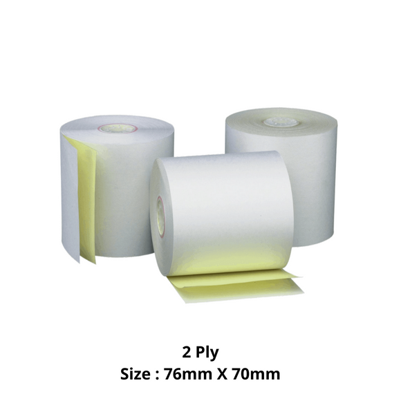 Double Ply Paper Roll, Size 76mm X 70mm, 50 Rolls / Carton