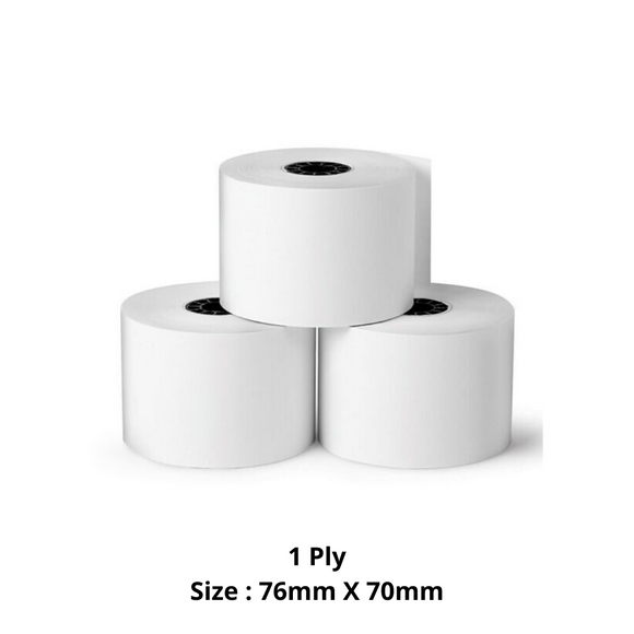 Single Ply Paper Roll, Size 76mm X 70mm, 50 Rolls / Carton