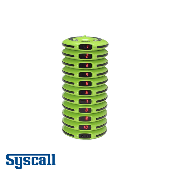 Syscall Guest Pager, 10 pcs Set with 1 pc Charger, Doughnut Type