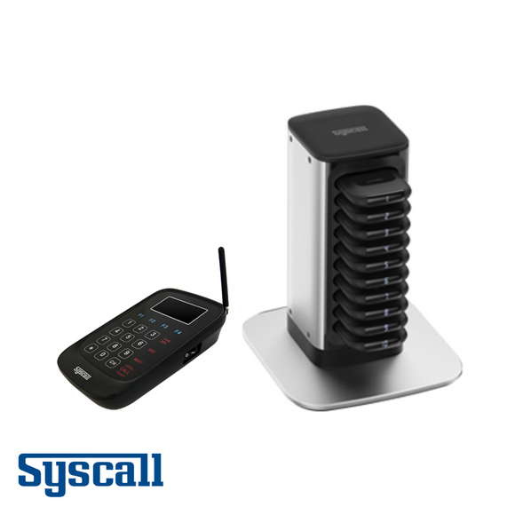 Syscall Signature Guest Pager, 10 pcs Set with 1 pc Charger & 1 pc Transmitter, Compact Pager