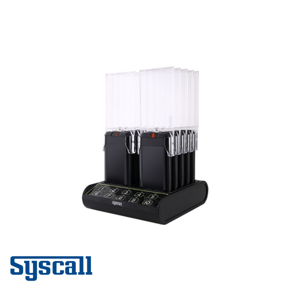Syscall All in One Guest Pager, 10 pcs Set with 1 pc Charger and inbuilt Transmitter, Slim Type