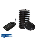 Syscall Guest Pager, 10 pcs Set with 1 pc Charger & 1 pc Transmitter, Slim Coaster Type