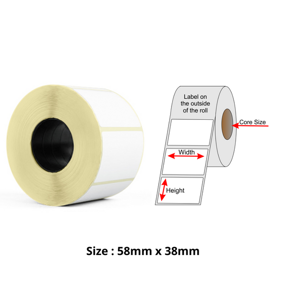 Thermal Label Roll, Size 58mm x 38mm