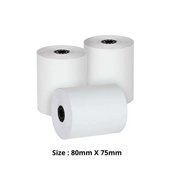 Thermal Paper Roll, Size 80mm X 75mm, 50 Rolls / Carton