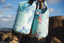 "Load image into Gallery viewer, Blue & Green Turtle Pattern ""LIVE ALOHA"" Dry Bag 