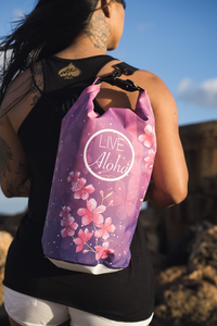 "Cherry Blossom Pattern ""LIVE ALOHA"" Dry Bag 