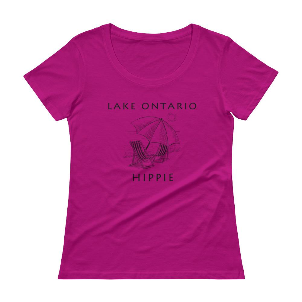 Lake Ontario Beach Women's Scoopneck Hippie T-Shirt