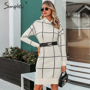 Simplee Elegant women knitted dress Long sleeve turtleneck plaid dress