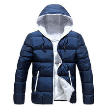 Laden Sie das Bild in den Galerie-Viewer, Men Winter Hooded Jacket Long Sleeve Thicken Puffer Padded Coat Warm Ultralight