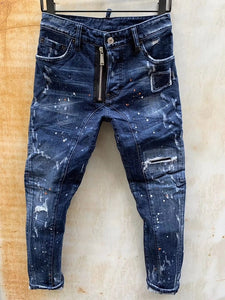 Men's jeans Printed With Hole Washed Casual Skinny Denim