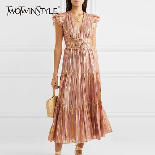 TWOTWINSTYLE Sexy Striped Women Dress V Neck Butterfly Sleeve High Waist