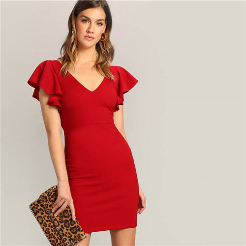 SHEIN Red Sexy Zip V-back Short Butterfly Sleeve
