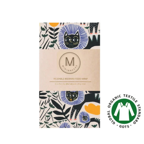 Organic Cotton Beeswax Wrap (Black Cats) - Comfily Living