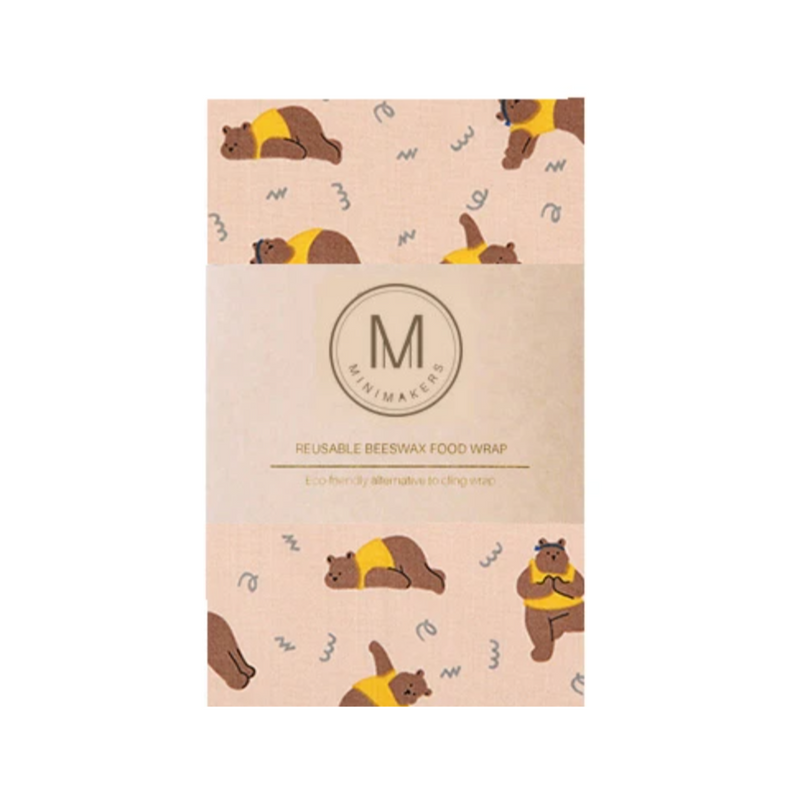 Premium Cotton Beeswax Wrap (Yoga Bear)