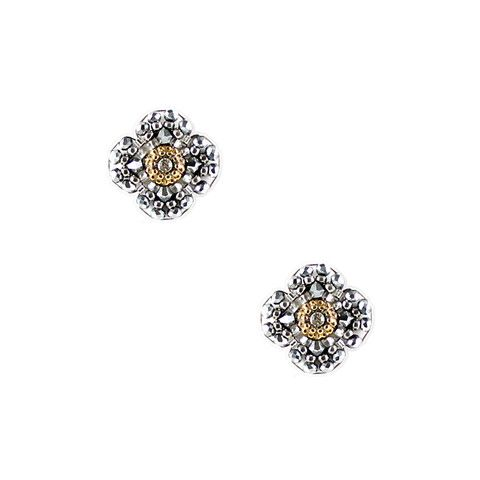 Silver Pyrite Quatrefoil Studs - Big Bag