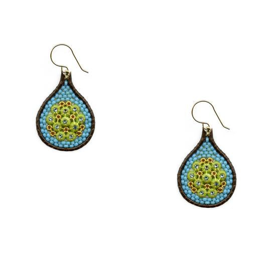 Turquoise/Leather Large Teardrop Earrings - Big Bag