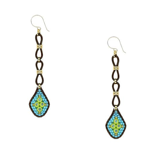 Turquoise/Leather Long Drop Earrings - Big Bag