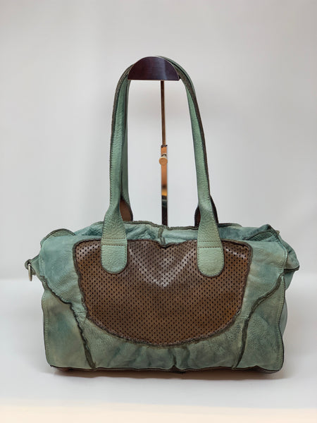 VLD Perforated Patchwork Pane Shoulder Satchel in Teal - Big Bag