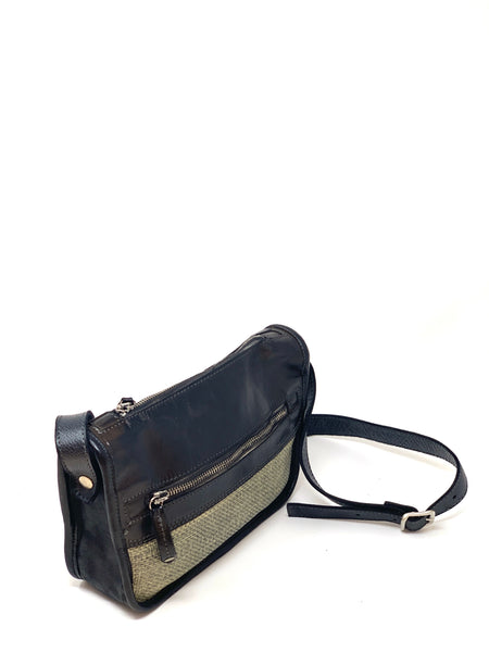 VLD Raffia and Leather Crossbody in Black - Big Bag