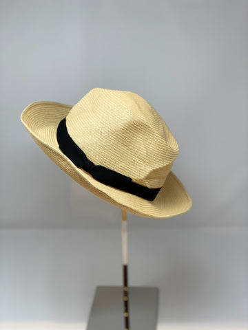 Japanese Crushable Wide Brim Fedora with Black Ribbon - Big Bag