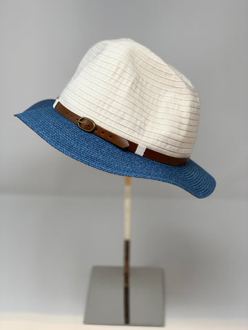 Soft Cotton Fedora with Contrast Brim Belt detail - Big Bag