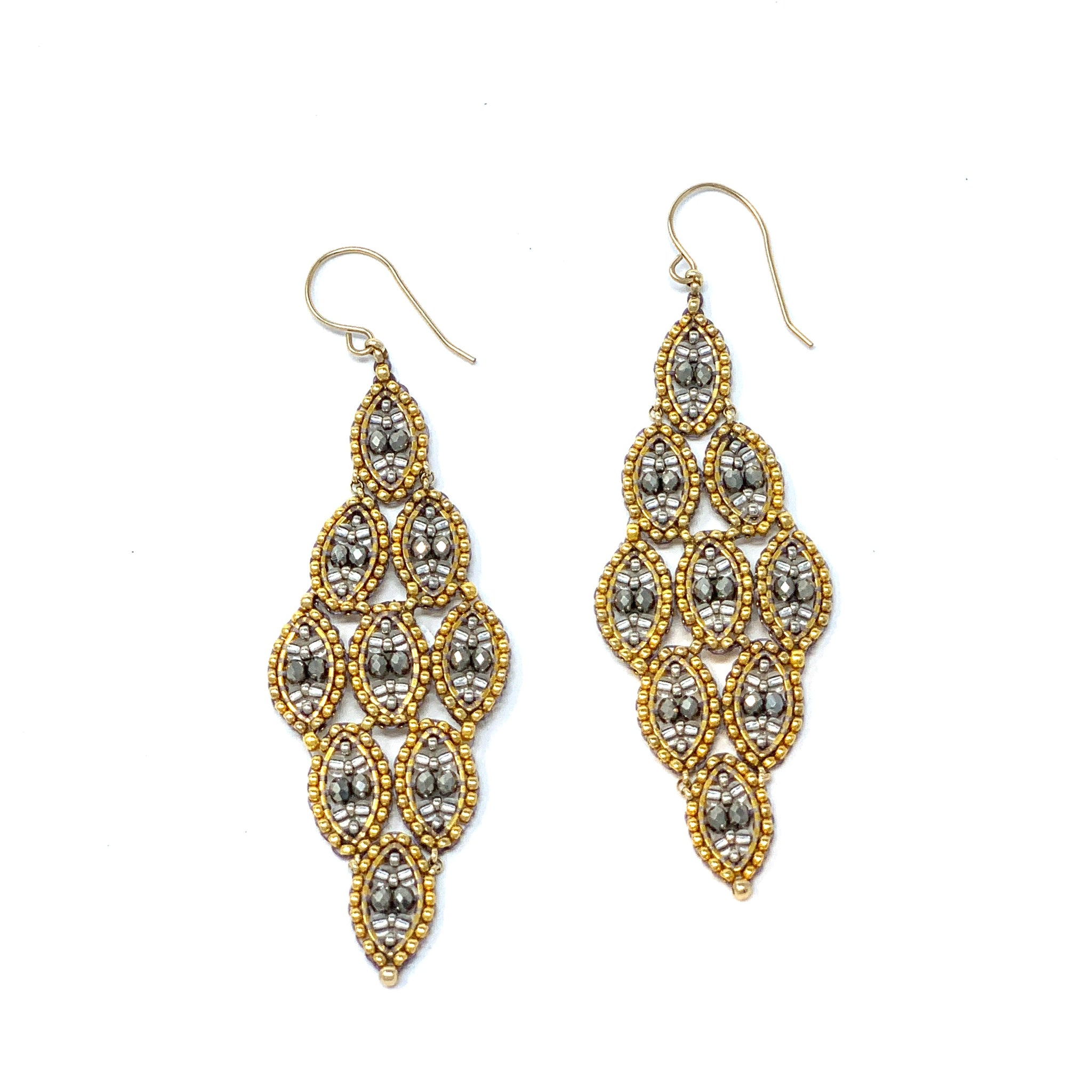 Long Diamond Shaped Silver and Gold Drops - Big Bag