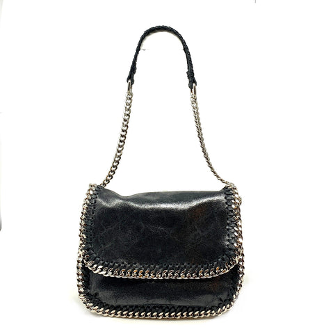 Metallic Black Chain Trim Shoulder Bag