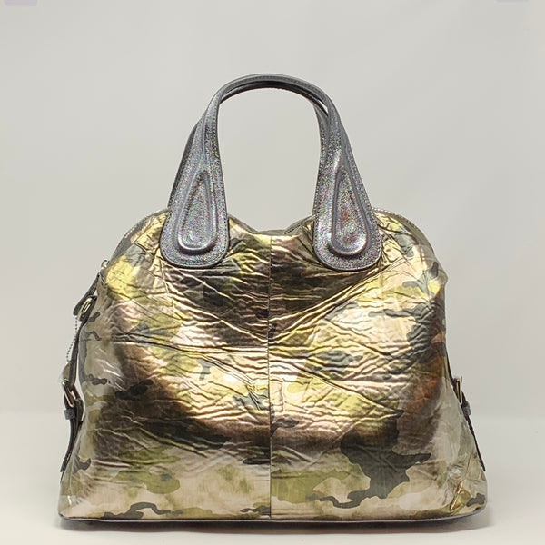 Large Metallic Camo Satchel Tote