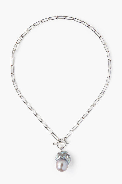 Grey Pearl Toggle Necklace in Silver - Big Bag