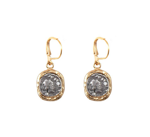 Coin Frame Dangle Earrings - Big Bag