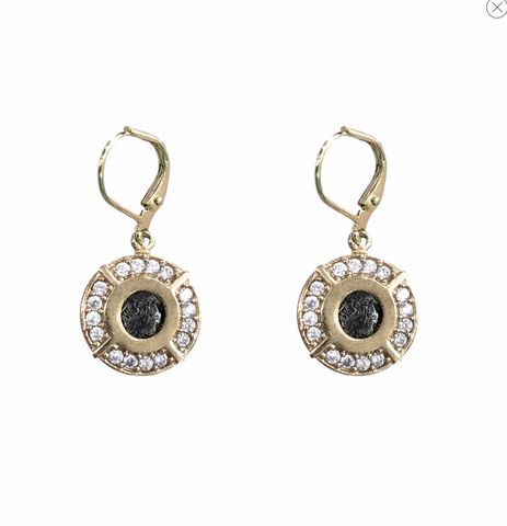 Crystal Frame Labradorite Earrings - Big Bag
