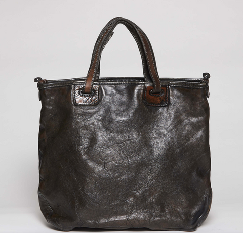 VLD  Large Convertible Treated Leather Tote
